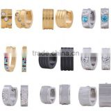 Fashion Crystal Cuff Huggie Hoop Earrings Surgical Stainless Steel Ear Studs Hoop Earrings