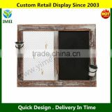 Wall Mounted Country Chicken Wire Memo / Message Display Board & Rustic Wood Framed Chalkboard YM5-1330