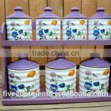 New ceramic 7pcs canisters set with purple lid and wood