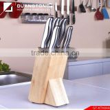 6 pcs stainless steel hollow handle kitchen knife set with wooden block stainless steel mirror kitchen knife