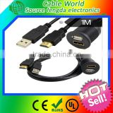 USB& AUX Extension Flush Mount Cable 1/8 AUX Car Bike Boat Motor