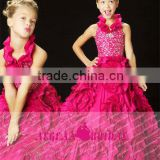 StyleMW0147 New Arrival Organza Crystal Ball Gown Girls Pageant Dresses