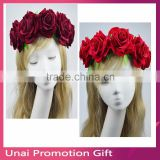 New Style Red Rose Wedding Wreath Bridal Headdress Forehead Headband Hair Head Accessories
