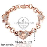 18KGP rose gold plated crystal rhinestone lovers' heart women flower bangle bracelet fashion jewelry B002