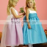 Bow Back Sleeveless Ankle Length Custom Made Vestidos Flower Girl for Wedding FG039 baby girls party dress design