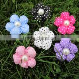 Hot Selling Small Polka Dots Hair Flower with Sponge in White Stone Center for Hair Accessories IN STOCK