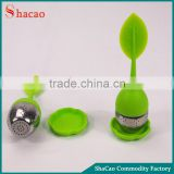 Mini Silicone Loose Tea Leaf Shaped Strainer Filter Spice Tea Infuser Stainless Diffuser