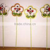 promotion design good quality popular easter decoration wooden ladybug picks beetle stick decoration