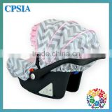 Infant Car Seat Cover Set Carseat Canopy Auto Zone Seat Covers Reversible Car Seat Stroller Strap Covers Gray Chevron Pattern