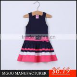 MGOO Latest Design Baby Girl Little Princess Dress Clothes Children Wholesale Black Contrast A Line Dresses CS009