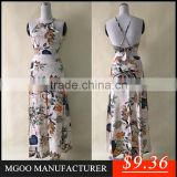 MGOO New Season Design Cheap Price Two Piece Set Women Dress Halter Backless Bandage Dress Flowers Printed Dress NB00965