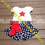 Litter Girls 4th of July Patriotic Outfit White Peasant Shirt with Red Star applique & Navy White Polka Dot Ruffle Shorts Sets