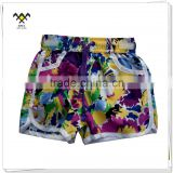 summer flower printed board shorts for girls