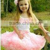 Unique design baby pettiskirt suit top with flufffy pettiskirt ball gown baby wedding dress cocktail dresses