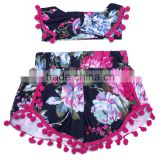 Soft flower pompom shorts with pom pom headband for baby girls with wholesale price