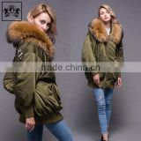 Modern Cheap Lady Fluffy Fur Collar Down For Winters Men Winter Sports Satin Bomber Jacket