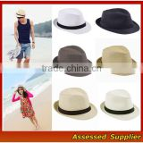 TAM16/Cheap custom panama hat for women man black band decor panama hat fedora hat wholesale