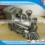 Custom train shaped coin bank money box,OEM design plastic coin bank money box,Custom coin bank plastic factory