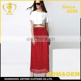 Wholesale latest design lady elegant red lace maxi skirt 2016 Image