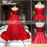 Alibaba China Prom evening dress Beaded red off shoulder wedding dress