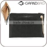 slim snake print/skin leather women clutch bag handbag with wrist chain