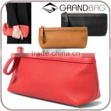 pebbled leather cosmetic bag with wristlet makeup case pouch multiple clutch purse for ladies