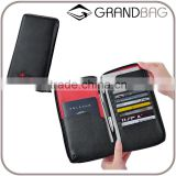 Genuine leather high-capacity zipper passport holder for men travel wallet credit card holder