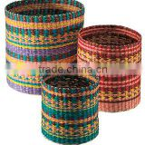 High quality best selling eco-friendly Set of 3 seagrass cyclindrical baskets from Vietnam