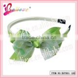 Hot selling cheap green color double layers polyester organza ribbon hair bows and headbands for girls(XHT001--120)