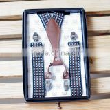 Men's Business Casual Trousers Boxed 4 Clip Suspenders High-end Special Gifts For Male