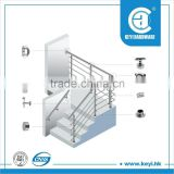 cable or pipe glass railing post handrail for stair