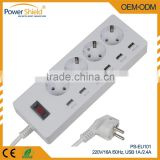 2015 Hot sales Euro/Germany USB Power Switch Socket Strip with Surge Protector 220V 16A with CE RoHS