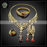 New products red stone color gold plated jewelry set wholesale china EHK562