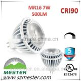UL 5W/7W high lumen12v/24v dimmable mr16 led spotlight