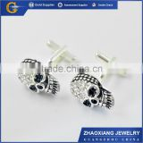 men's T-shirt skull cuff links with diamond and crystal