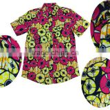 african batik fabric clothing mens t shirt in high quality