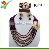 African necklace jewellery set crystal beads necklace jewelry set JQ034-1 purple