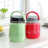 2016 NEW DESIGN LARGE INSULATED GLASS HOT FOOD VACUUM FLASK THERMOS /PICNIC CONTAINER CARRY HANDLE/THERMOS FOOD JAR BPA FREE