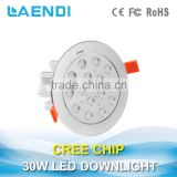 Shenzhen factory supply 30W Rotatable LED Downlight, LED Ceiling light with 3 year warranty