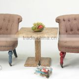 Antique Kids furniture set Square 60x60cm Wooden coffee table with sofa chair(DT-1007-OAK& F098N)