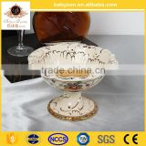European style fruit bowl with handle charming mordel ceramic porcelian fruit bowl for christmas yellow
