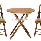 Rattan and Bamboo Folding Table and Chair Set