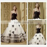 Manufacture wholesale high quality White & black wedding dress DM-024 Custom made bridal dress big size