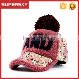 V-335 fashion woman cap winter hat embroidery baseball cap winter sports soft pom baseball caps