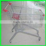 Chrome Plating Metal Wire Mobile Shopping Trolley with 4 Wheels