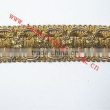 Decorative Gold Metallic Braid Lace Trim For Fabric, Drapes