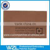 Wholesale brown embossed clothing leather patches, PU leather jeans label patches                                                                         Quality Choice
