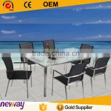 2015 Gemma Mordern Aluminum Frame 6 Person Dining Table and Chairs Outdoor Patio Home Furniture For Project                                                                                         Most Popular