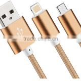 Wholesale moible phone accessories phone case gold plated braided fast charging micro usb data line cable
