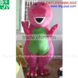 New design customized plush top sale adult barney mascot costume